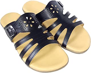saanvishubh Flat Faux Leather Slipper for Girls and Women Stylish