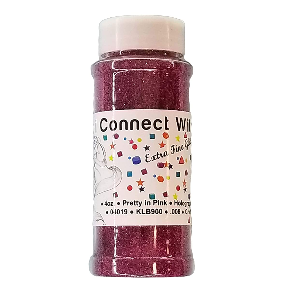 Pretty in Pink, Extra Fine Holographic Glitter 1/128, 4oz Shaker Bottle