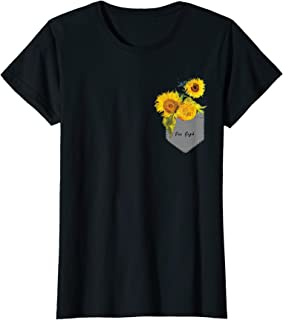 Womens Van Gogh Sunflowers Cute Yellow Flowers Pocket T-Shirt