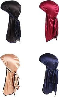 4 Pack Men's Women's Silk Accent Durag Cap Headwraps