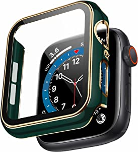 Swhatty Case Compatible with Apple Watch 44mm 40mm 42mm 38mm, Bumper Built in Tempered Glass Screen Protector, protective Cover for iWatch Series SE 6 5 4 3 2 1 Women Men (Light Gold Edge Green, 44mm)