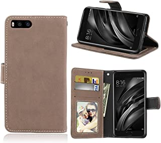 Wallets Flip Stand Case Cover Retro Style PU Leather Case with Kickstand and Card Slots for Xiaomi 6 Shockproof (Color : Beige)