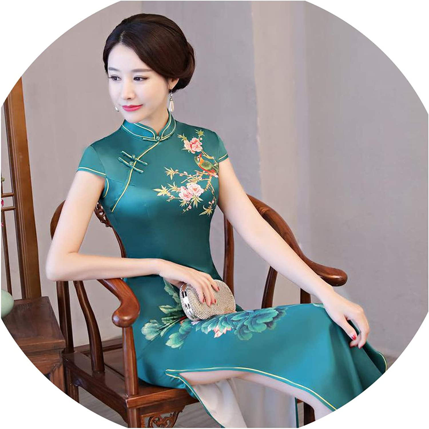 colorfulspace Oriental Vintage Print Flower Traditional Cheongsam Elegant Party Evening Gowns Noble Satin Qipao