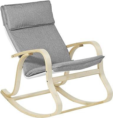 SoBuy ロッキングチェア 木製 リクライニング リラックスチェア ゆりかご椅子 パーソナルチェア(FST15-DG/グレー)