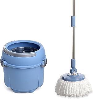 Tatay Twister Compact Set con Cubo de Fregar y Fregona Giratoria 360º de Microfibra, Capacidad para 8 l, Azul, 32 x 31 x 30 cm