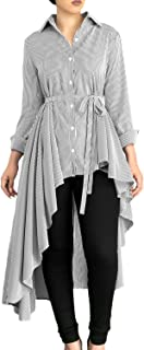 Dokotoo Womens Long Sleeve Button Down High Low Irregular Stripe Tops T Shirts with Belt