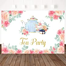 Mocsicka Tea Party Backdrop Watercolor Floral Birthday for Girl Little Princess Photo Backdrops 7X5ft Vinyl Baby Shower Party Photography Background