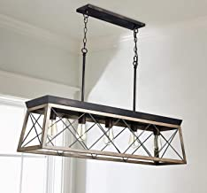 Saint Mossi Antique Bronze Oaky Painted Metal Island Lighting Stardust Distressed Finish Network Shade 5 Lights, Kitchen I...