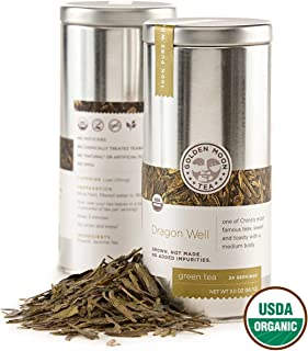 Golden Moon Tea - Dragon Well Tea - Organic - Loose Leaf - Non GMO - 2oz Tin - 24 Servings