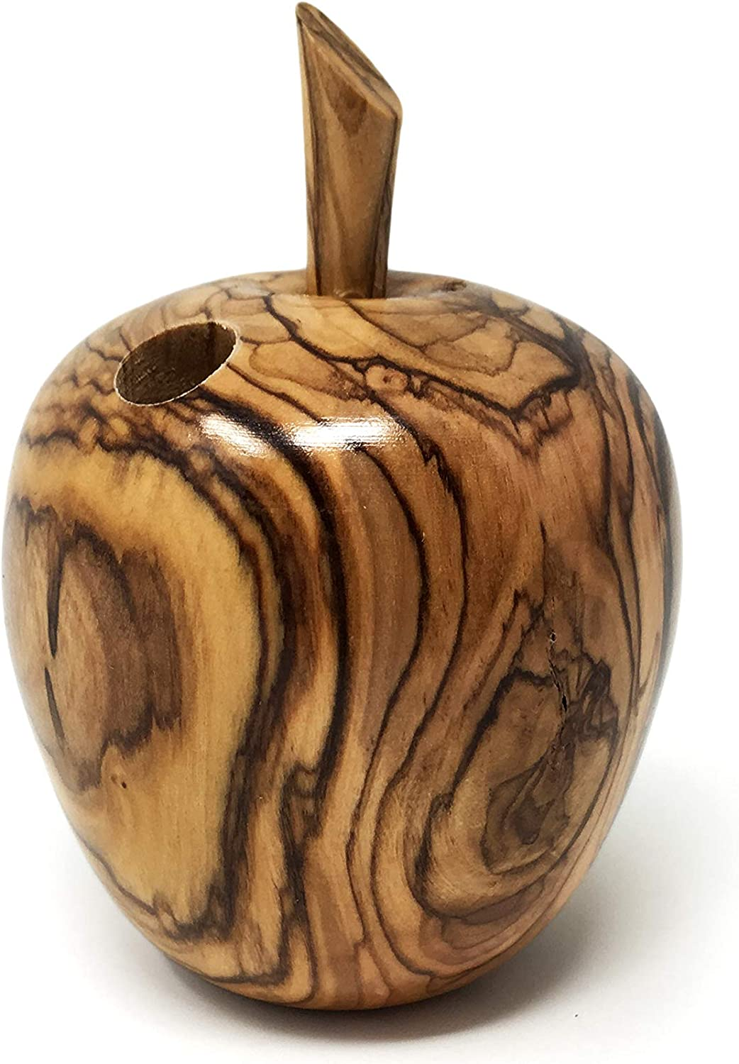 AramediA Olive Wood Handcrafted in The Holy Land by Artisans Apple Shaped Toothpick Holder.-(6 X 6 X 8 cm)