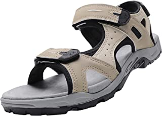 CAMEL CROWN Men's Sports & Outdoor Leather Sandals Comfortable for Hiking Walking Open Toe Shoes Adjustable Lightweight Su...