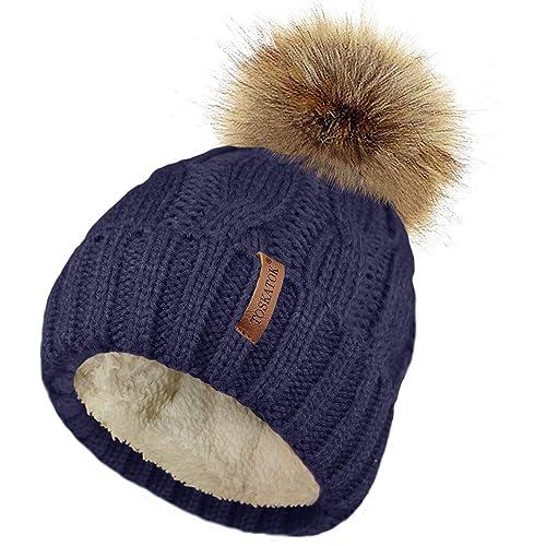 Wholesale Job Lot Ladies  Fur Detachable POM POM Knitted Winter Hats 10 Pcs