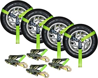 VULCAN High-Viz 2 Inch x 96 Inch Lasso Auto Tie Down with Snap Hooks - 3300 lbs. Safe Working Load, 4 Pack - Easily Trailer Any Car, Truck, SUV, Jeep, Or Sportscar