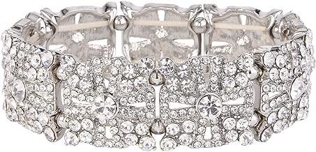 EVER FAITH Women's Austrian Crystal Wedding Hollow-Out Cross Elastic Stretch Bracelet