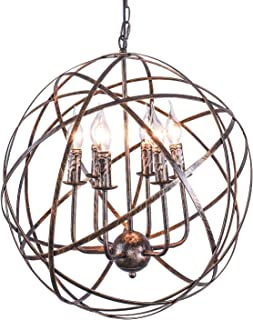 Industrial Vintage 6-Light 20  Orbits Chandelier Pendant Lighting Kitchen Ceiling Light Fixtures Sphere Design for Dining Room Bar Restaurant Hotel Lights (Include Bulb)