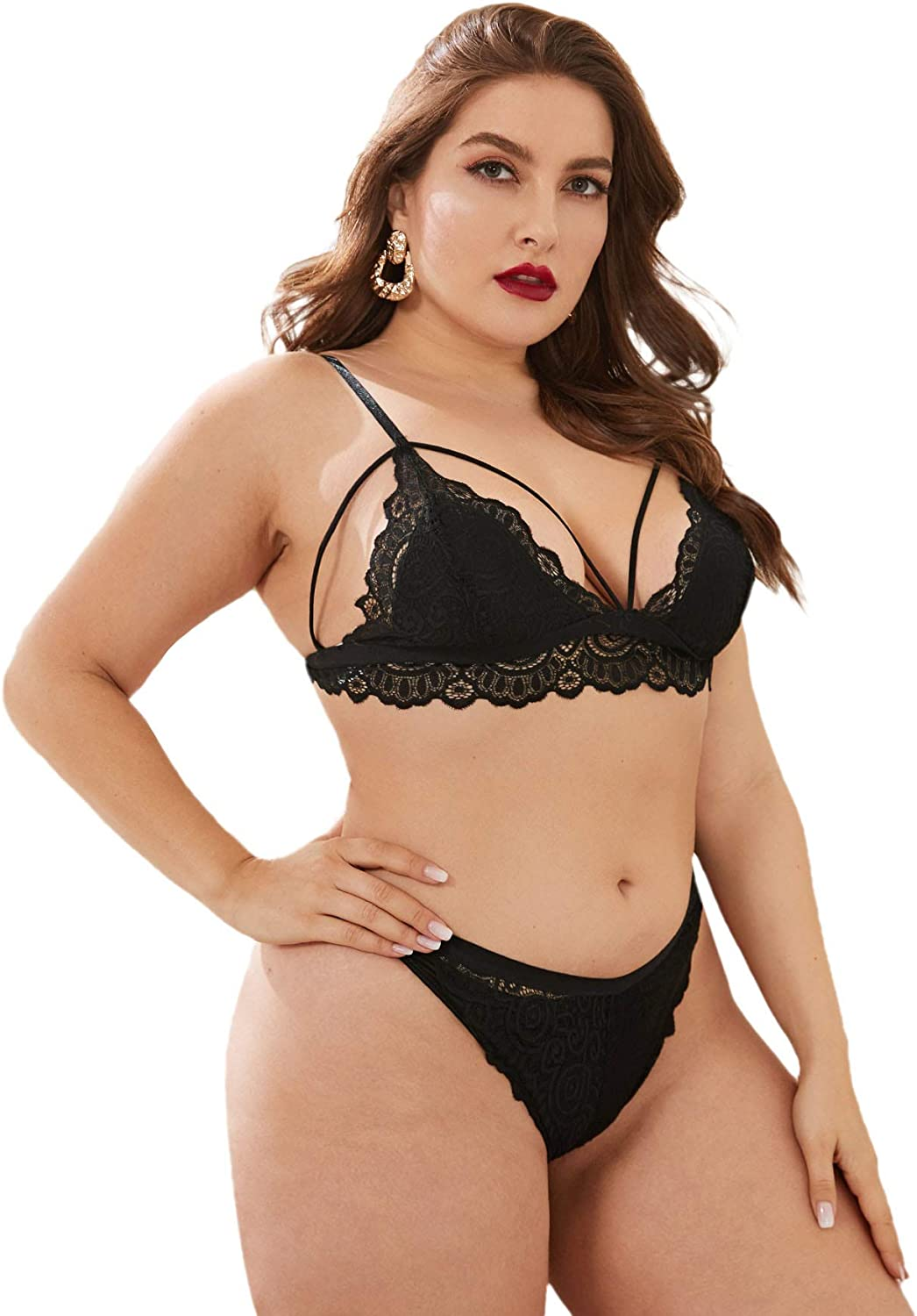 Milumia Women's Plus Size Flower Sexy Lace Up Halter Bra and Panty Lingerie Set