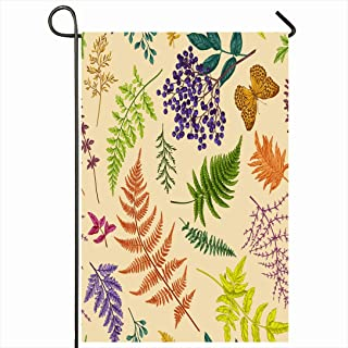 Ahawoso Outdoor Garden Flag 28x40 Inches Colorful Foliage Fall Autumn Floral Pattern Botanical Vintage Fern Drawing Elderberry Tree Autumnal Seasonal Home Decor Welcome House Yard Banner Sign Flags