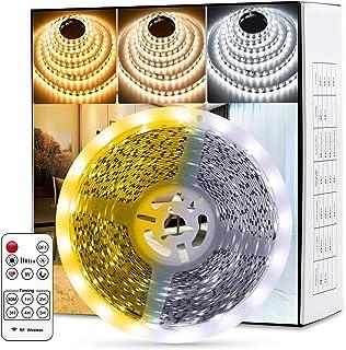 Fortand Tiras LED, Luces LED Lámpara de Dicroísmo Tira 10m, 840 LED 2835 con Control Remoto RF, Para la Habitación Dormitorio Cocina Barra Techo 12V [nivel de energía a + + +] (10M)