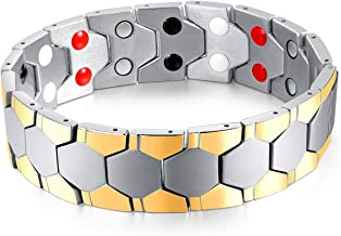 Extra Germanium Strength Magnetic&Negative-ions Therapy 316L Stainless Steel Bracelets for Men Health Stress Relief Wristband [Free Links Removal Tool] (Gold-Silver)