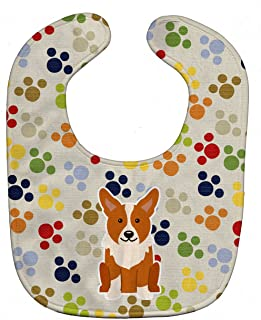 Caroline's Treasures BB5929BIB Pawprints Baby Bib, Corgi, Large