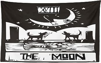 ABAKUHAUS Luna Tapiz de Pared y Cubrecama Suave, Dibujo Marrón Blanco Langosta Lobos Luna Estrellas Carta de Tarot Diseño, Lavable Colores Firmes, 230 x 140 cm, Gris Carbón