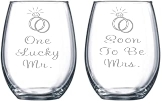 C M One Lucky Mr. and Soon To Be Mrs. Etched 15 oz. Stemless Wine Glasses Set - Engagement Gift Set