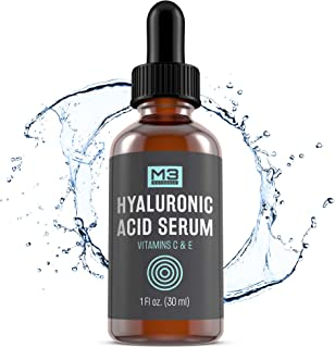 M3 Naturals Hyaluronic Acid Serum Infused with Vitamin C for Face and Eye All Natural Topical Facial Anti Aging Oil Wrinkle Hydrates Pore Minimizer Acne Skin Care Lip Plumper Dark Spot Remover Cream