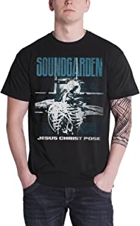 Soundgarden T Shirt Jesus Christ Pose Distressed Logo Official Mens Black