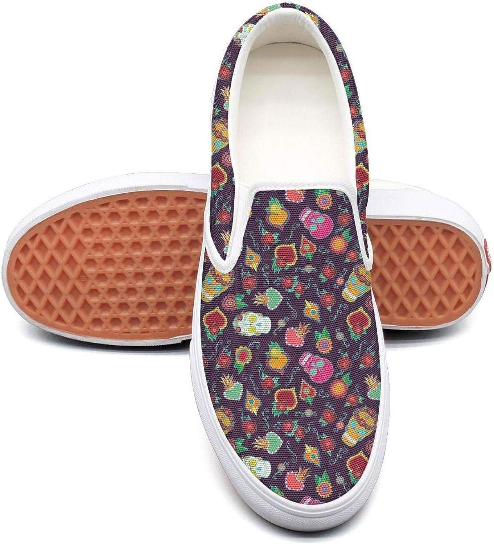 Dia De Los Muertos Skull Slip On Rubber Sole Sneakers Canvas shoes for Women Fashion