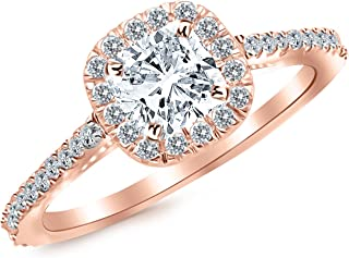 GIA Certified 1.07 Carat Cushion Cut/Shape 14K White Gold Classic Cushion Halo Style Diamond Engagement Ring with a 0.70 Carat, I Color, VS2 Clarity Center Stone