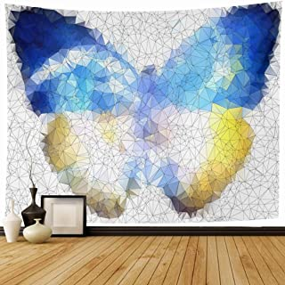 Ahawoso Tapestry Wall Hanging 80x60 Diamond Glass Ukraine Freedom Butterfly Geometric Futuristic Abstract Origami Blank Creative Design Home Decor Tapestries Decorative Bedroom Living Room Dorm