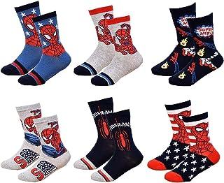 Ozabi - Chaussettes Enfant Licence SPIDERMAN fantaisie -Assortiment modèles photos selon arrivages- Pack de 6 Paires Socqu...
