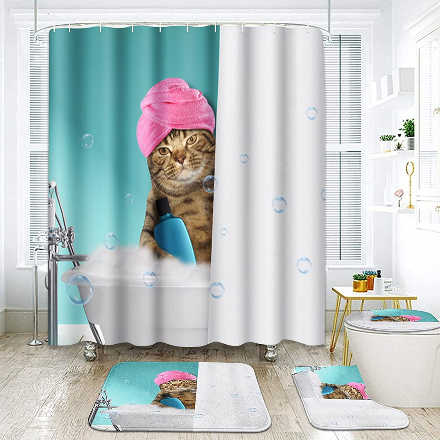 ArtSocket 4 Pcs Shower Curtain Set a Ranking integrated 1st place Shipping included Bath Blue Taking Cat Summer