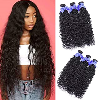 Water Wave Human Hair 3 Bundles 100% Unprocessed Virgin Brazilian Human Hair (24 26 28) Wet and Wavy Human Hair Weave Bundles Hair Extensions Wefts 100g Per Bundle Can Be Dyed Natural Black