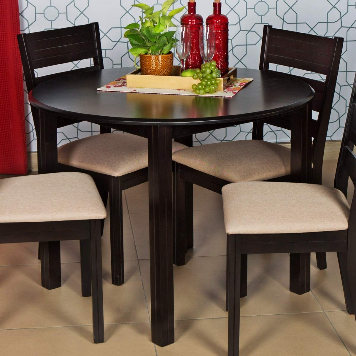 Home Centre Montoya Round Contemporary MDF Veneer Finish 9 Seater Dining  Table Without Chairs Brown