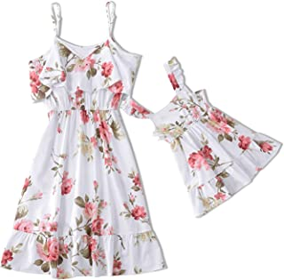 Mommy and Me Maxi Dress Casual Floral Printed Ruffles Strappy Summer Matching for Mother and Daughter