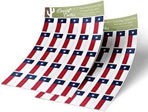 Texas TX State Flag Sticker Decal 1 Inch Rectangle Two Sheets 50 Total Pieces Kids Logo Scrapbook Car Vinyl Window Bumper Laptop Texan R