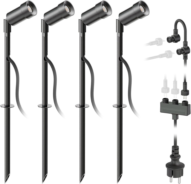 Ledscom  LED Gartenstrahler Spico schwarz mit Erdspie für auen IP44 68lm warm-wei 4er Set