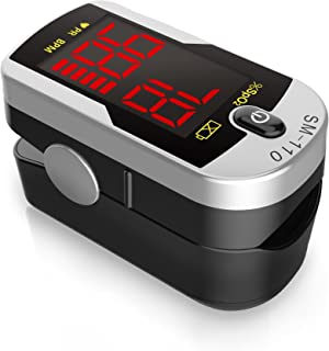Deluxe SM-110 Two Way Display Finger Pulse Oximeter with Carry Case and Neck/Wrist Cord