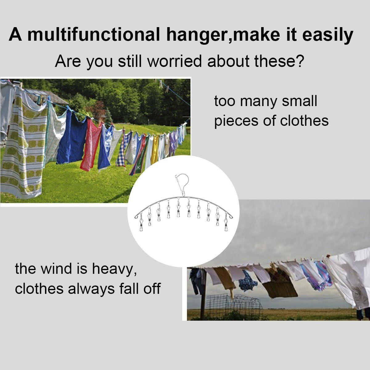 Juego de 2 perchas de acero inoxidable con 10 clips para secar calcetines pa/ñales calcetines guantes sujetadores ropa de beb/é toallas de secado ropa interior