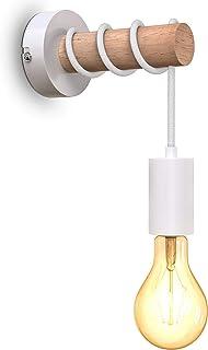 B.K.Licht applique murale, design rétro industriel, bois & métal, éclairage salon & chambre, douille E27, pour ampoule LED...