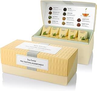 Tea Forte Tea Tasting Assortment Presentation Box Tea Sampler, Assorted Variety Tea Box, 20 Handcrafted Pyramid Tea Infuser Bags, Black Tea, White Tea, Green Tea, Herbal Tea