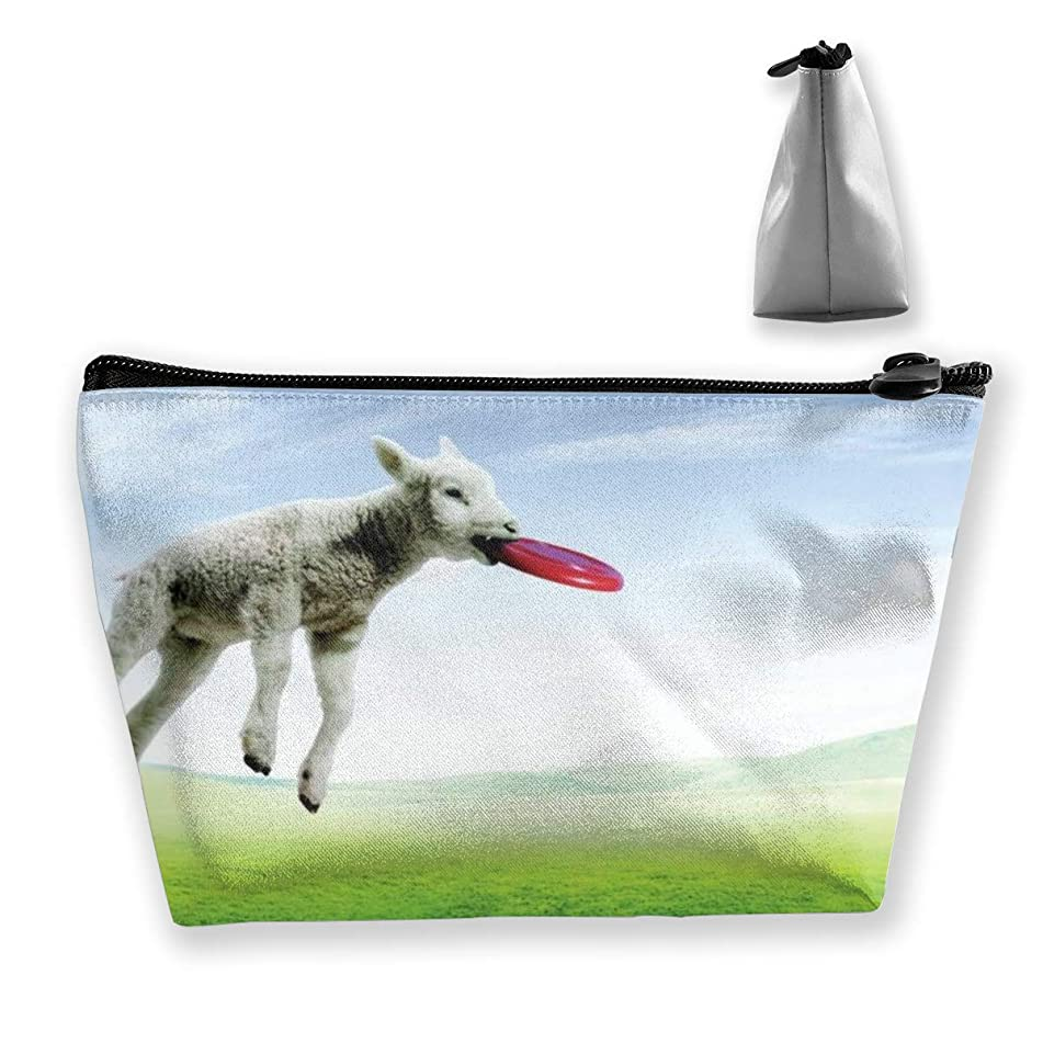 Trapezoidal Cosmetic Bags Makeup Toiletry Pouch Sheep Play Travel Storage Bag Phone Purse