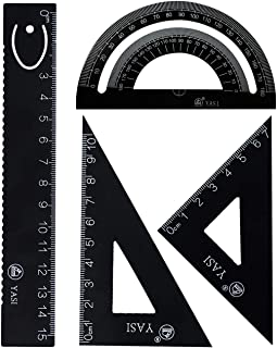 4 Pcs Steel Scale Ruler Set- 4 Pack Math Geometry Tool for Students/Draftsman/Engineers/Design/Graphic/Examination/Math Or Painting Include 2 Pcs Triangular Ruler + Protractor + Linear Ruler (Bl