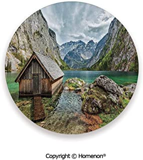 Dock on the Lake with Small shed between Alpine Mountains in Germany European Nature Photo,Cup Coasters With Anti Scratch Cork Back Multi,3.9×0.2inches(4PCS),Protect Furniture From Coffee Or Tea