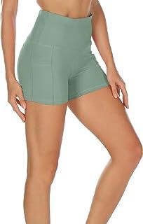 icyzone Femme Poids léger Short de Sport - Yoga Fitness Running Gym Pantalons Court avec Poche latérale