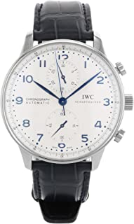 IWC Men's IW371446 Portugieser Chronograph Automatic Blue alligator leather strap Watch