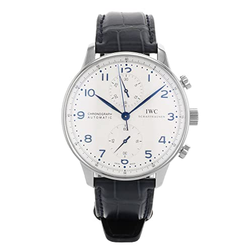 IWC Mens IW371446 Portugieser Chronograph Automatic Blue alligator leather strap Watch