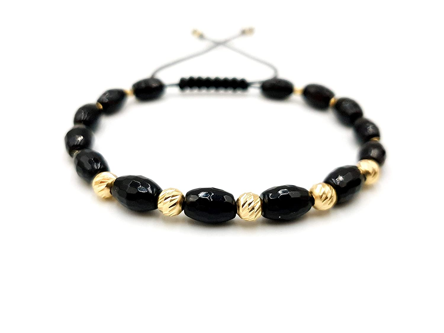 14k yellow Gold Max 54% OFF Bracelet and Great interest Natural beads Stones Onyx