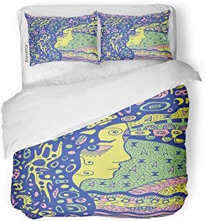 Tarolo Bedding Duvet Cover Set Alchemy Occult Shaman Gothic Girl Ancient Goddess of The Moon Doodle Psychedelic Astrology 3 Piece Twin 68